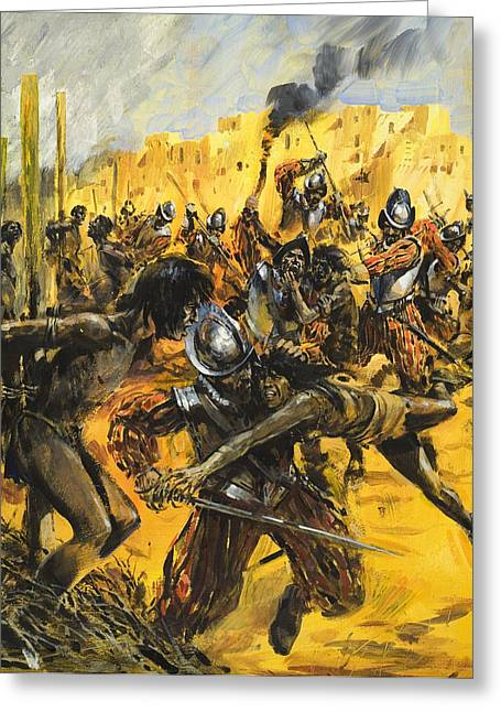 Spanish Conquistadors Greeting Card by Graham Coton