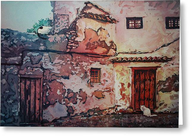 Spanish Courtyard Greeting Card by Leslie Redhead