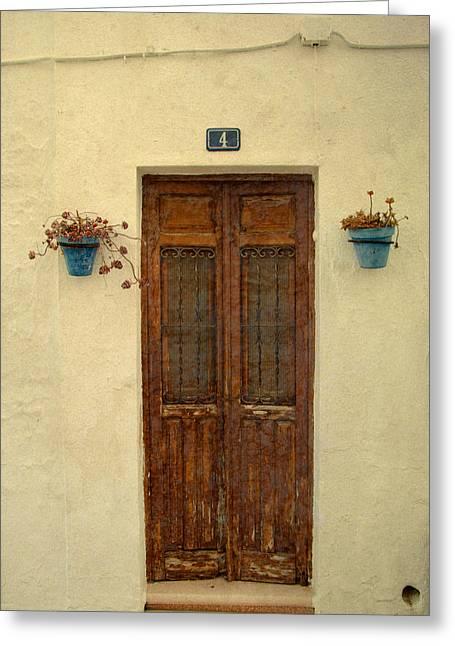 Spanish Doorstep Greeting Card by Perry Van Munster