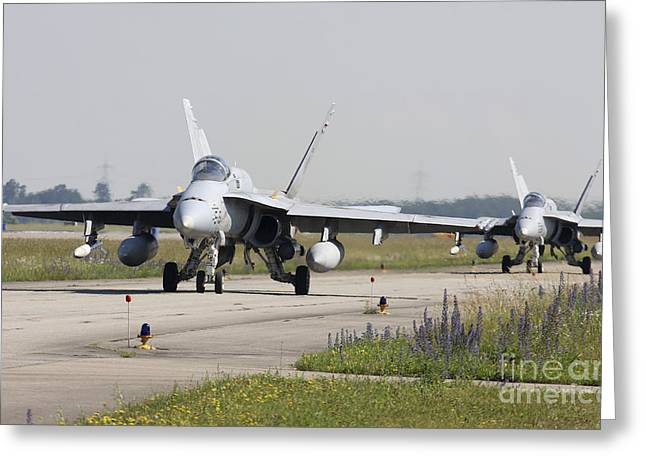 Spanish F-18 Aircraft Taxiing Greeting Card by Timm Ziegenthaler
