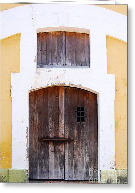 Spanish Fort Door Castillo San Felipe Del Morro San Juan Puerto Rico Prints Greeting Card by Shawn O'Brien