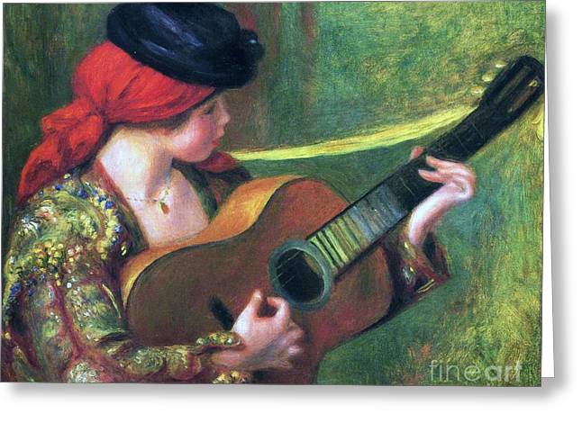Spanish Girl With Guitar Greeting Card by Pg Reproductions