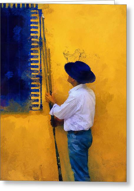 Spanish Man At The Yellow Wall. Impressionism Greeting Card