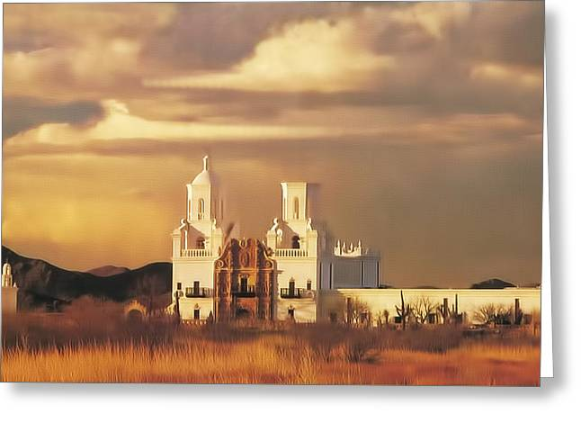 Spanish Mission Greeting Card by Walter Colvin
