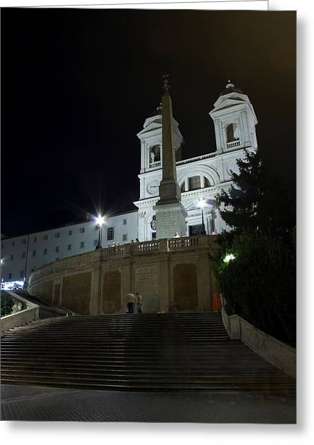Spanish Steps At Night Greeting Card