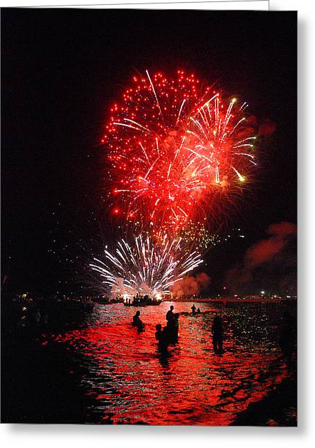 Sparks On The Sea Greeting Card by Perry Van Munster