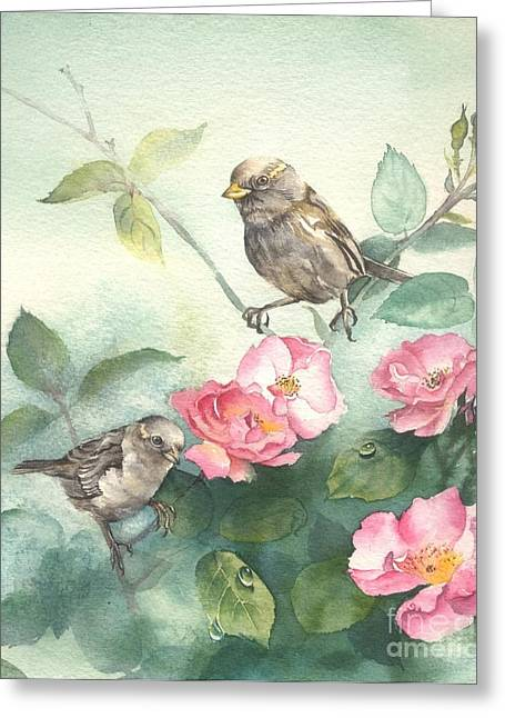 Sparrows And Dog Rose Greeting Card by Sandra Phryce-Jones
