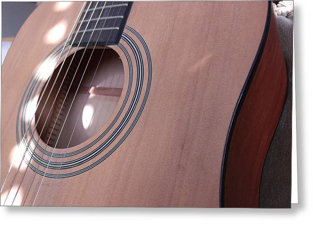 Speckled Sunlit Acoustic Guitar Greeting Card by Brian  Maloney