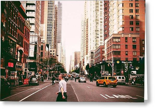 Speed Of Life - New York City Street Greeting Card by Vivienne Gucwa