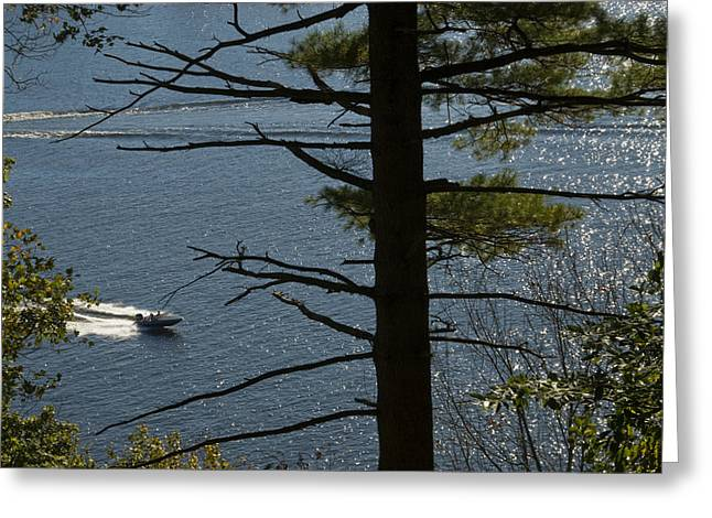 Speedboat On The River Greeting Card
