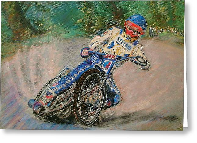 Speedway Rider Edinburgh Monarchs Greeting Card