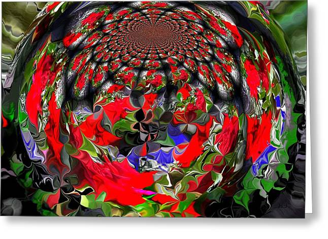 Spherical Bloom Greeting Card by Jan Steadman-Jackson