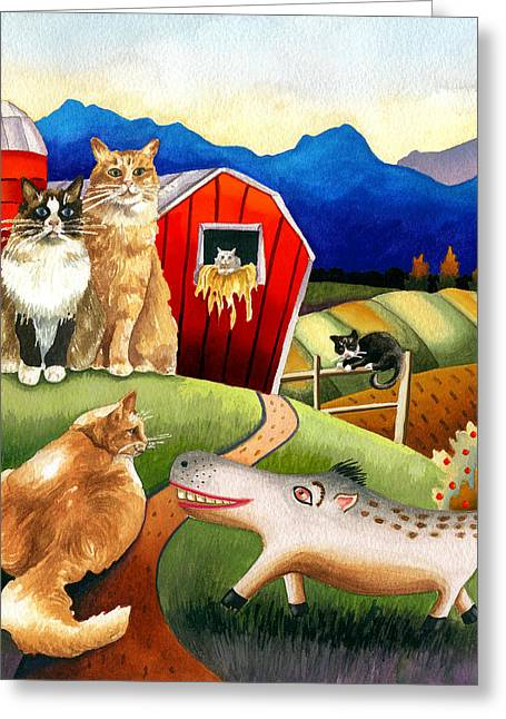 Spike The Dhog Meets Some Well Fed Barncats Greeting Card by Anne Gifford
