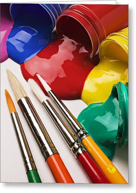 Spilt Paint And Brushes  Greeting Card by Garry Gay