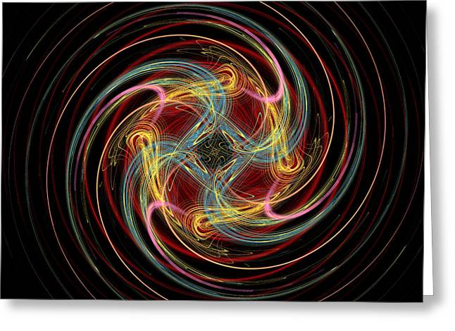 Spin Fractal Greeting Card by Betsy Knapp