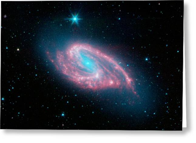 Spiral Galaxy M66, Infrared Image Greeting Card