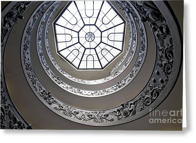 Spiral Staircase In The Vatican Museums Greeting Card by Bernard Jaubert