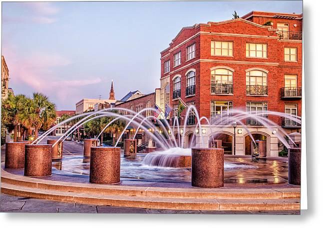 Splash Fountain In Waterfront Park Greeting Card by Vanessa Kauffmann