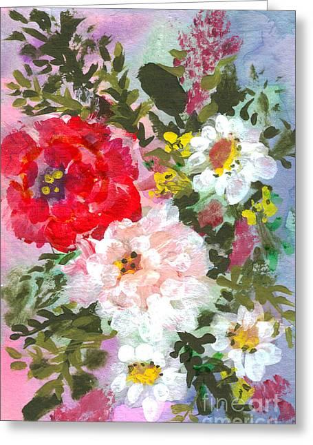 Splashy Flowers Greeting Card by Debbie Wassmann