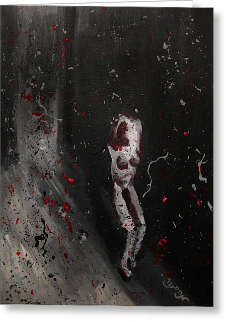 Greeting Card featuring the painting Splattered Nude Young Female In Gritty City Alley In Black And White And Red by M Zimmerman