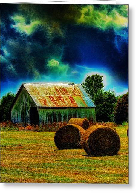 Spooky Hay Field Greeting Card