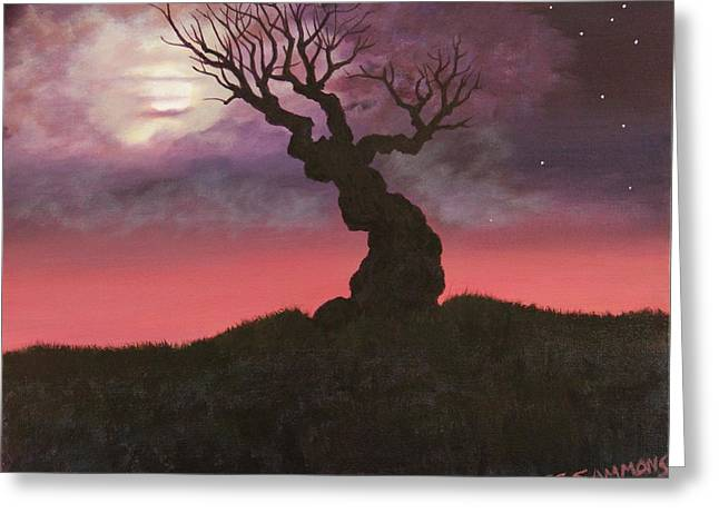 Greeting Card featuring the painting Spooky Tree by Janet Greer Sammons