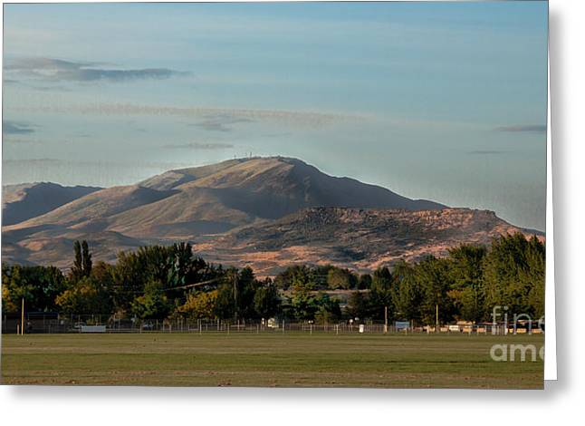 Sport Complex And The Butte Greeting Card by Robert Bales