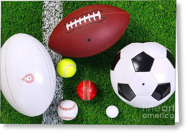 Sports Balls On Grass From Above. Greeting Card