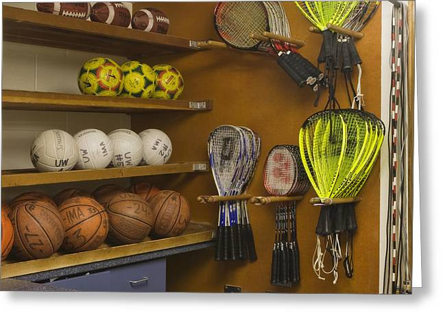 Sports Equipment Display Greeting Card by Andersen Ross