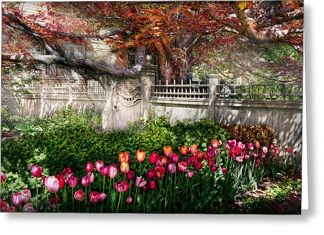 Spring - Gate - My Spring Garden  Greeting Card by Mike Savad