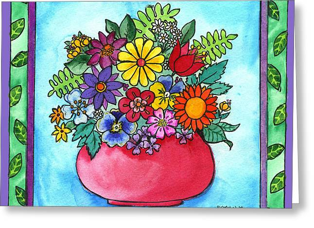 Spring Bouquet Greeting Card by Pamela  Corwin