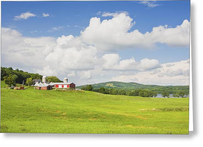 Spring Farm And Hay Field With Blue Sky Maine Greeting Card