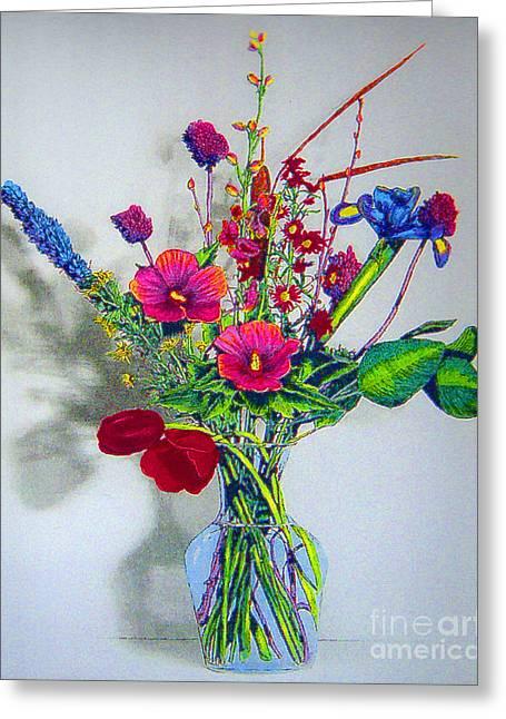 Spring Flowers In Glass Vase Greeting Card by Merton Allen