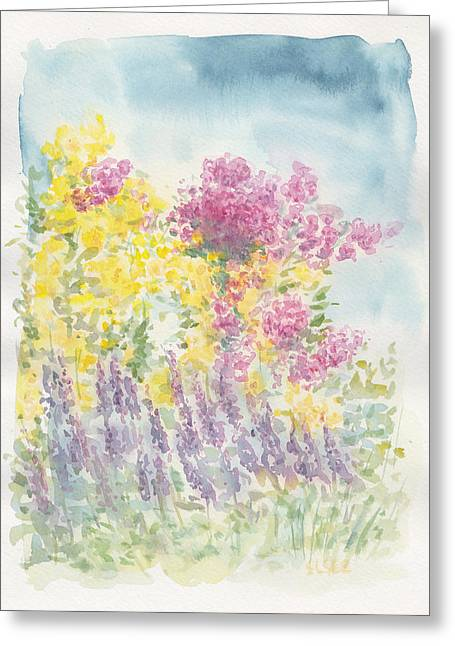 Greeting Card featuring the painting Spring Garden by Jane  See