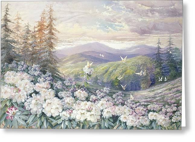 Spring Landscape Greeting Card by Marian Ellis Rowan