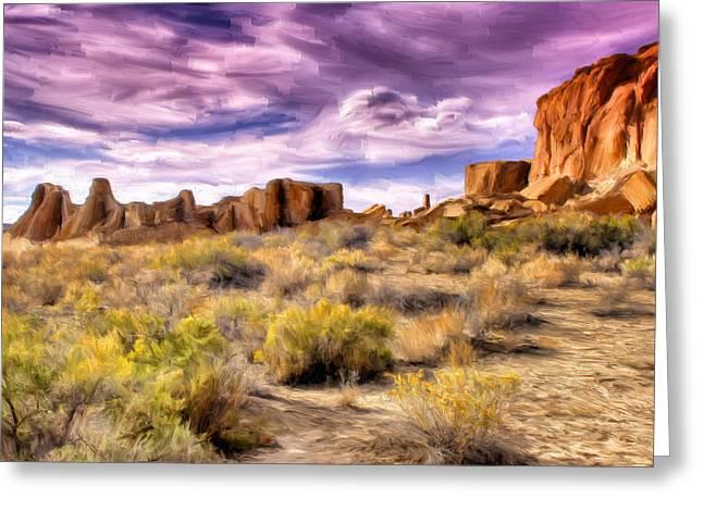 Spring Rain At Chaco Canyon Greeting Card