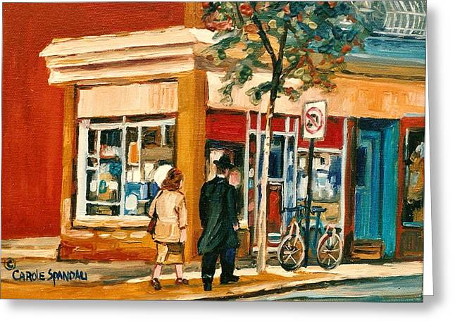 Spring Time In Montreal City Scene Greeting Card by Carole Spandau