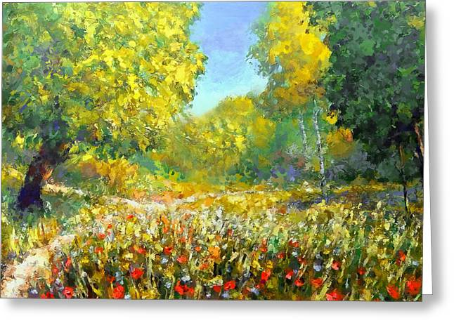 Spring Walk Greeting Card by Georgiana Romanovna