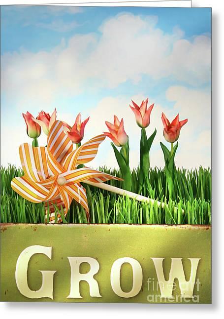 Springtime Fun Greeting Card by Sandra Cunningham