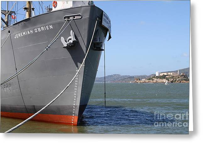 Ss Jeremiah Obrien Liberty Ship At Fishermans Wharf With Alcatraz In The Distance . Sf Ca . 7d14437 Greeting Card by Wingsdomain Art and Photography