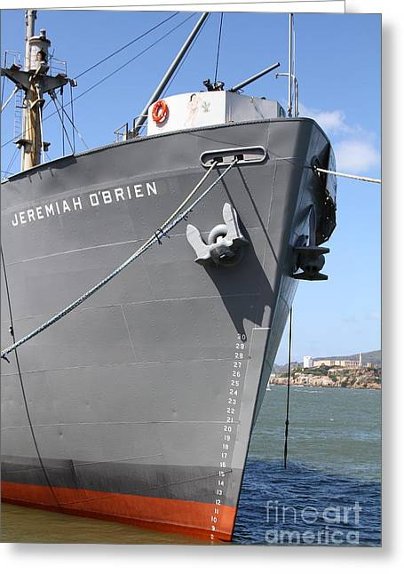 Ss Jeremiah Obrien Liberty Ship At Fishermans Wharf With Alcatraz In The Distance . Sf Ca . 7d14439 Greeting Card by Wingsdomain Art and Photography