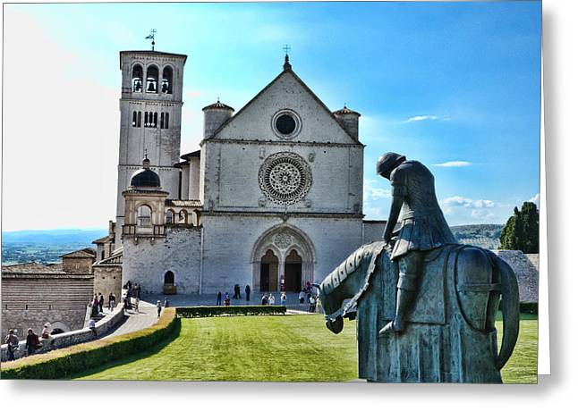 St Francis Basilica   Assisi Italy Greeting Card by Jon Berghoff