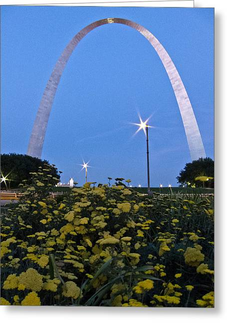 Greeting Card featuring the photograph St Louis Arch With Twinkles by Nancy De Flon