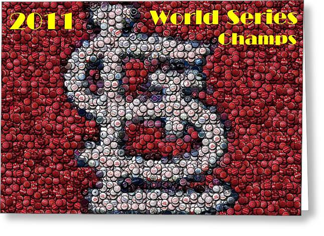 St. Louis Cardinals World Series Bottle Cap Mosaic Greeting Card by Paul Van Scott