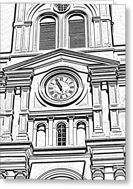 St Louis Cathedral Clock Jackson Square New Orleans Black And White Photocopy Digital Art Greeting Card