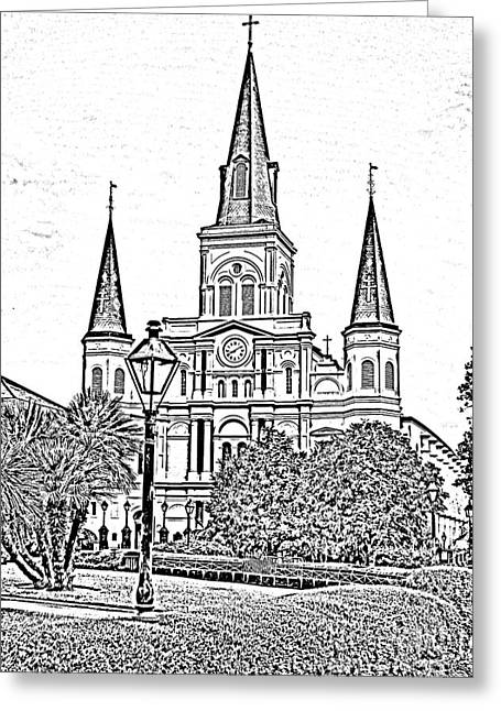 St Louis Cathedral Jackson Square French Quarter New Orleans Photocopy Digital Art  Greeting Card by Shawn O'Brien