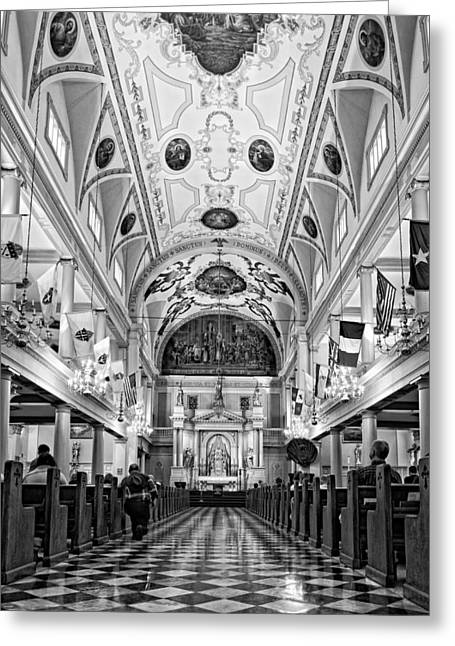 St. Louis Cathedral Monochrome Greeting Card by Steve Harrington
