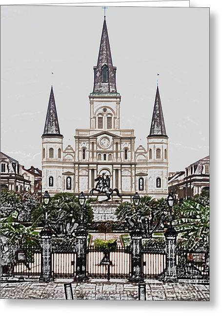 St Louis Cathedral On Jackson Square In The French Quarter New Orleans Colored Pencil Digital Art Greeting Card by Shawn O'Brien