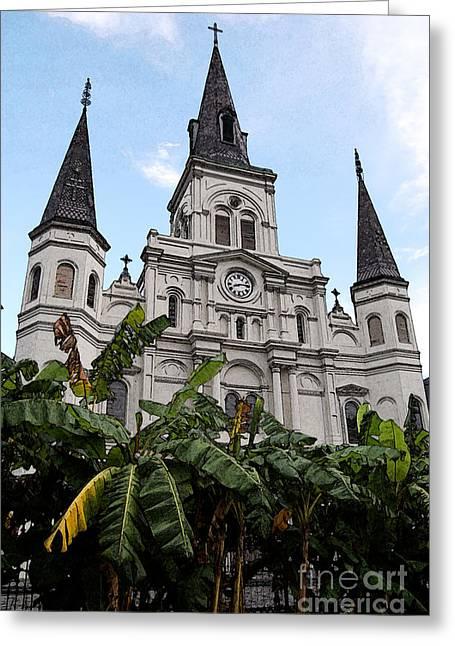 St Louis Cathedral Rising Above Palms Jackson Square New Orleans Fresco Digital Art Greeting Card by Shawn O'Brien