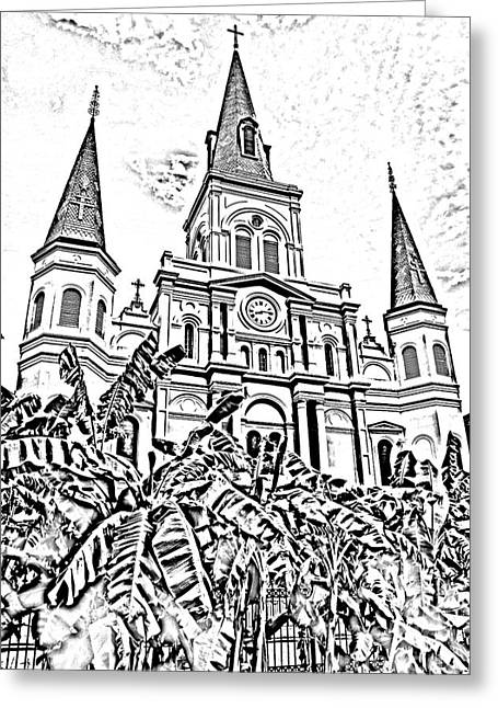 St Louis Cathedral Rising Above Palms Jackson Square New Orleans Photocopy Digital Art Greeting Card by Shawn O'Brien